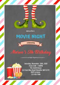 Elf movie night theme Invitation A6 template