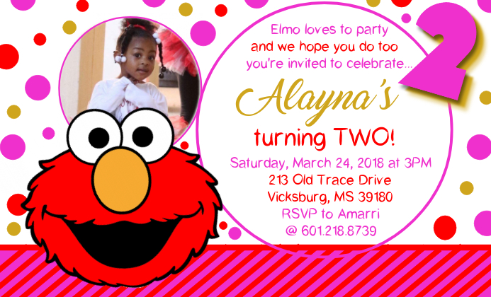 Elmo Birthday Party Invitation Customize Template