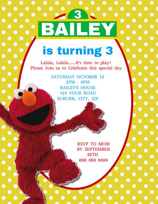 Elmo Birthday Invite PRINTABLE