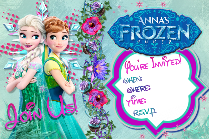 elsa anna frozen disney princess sisters party girls invite template