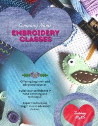 Embroidery Sewing or Fiber Arts Class Flyer