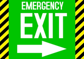 emergency EXIT ARROW sign to door