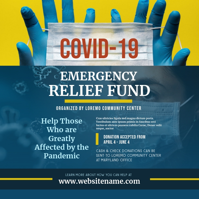 Emergency Relief Fund Instagram Post Templat Postermywall