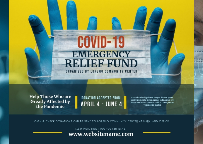 Emergency Relief Fund Postcard Postkort template