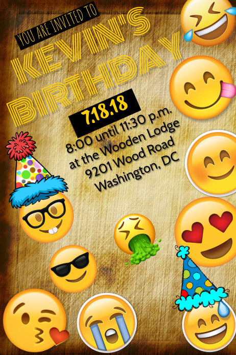 Emoji Invitation Template Postermywall