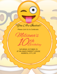 Emoji kids Birthday Invitation Template