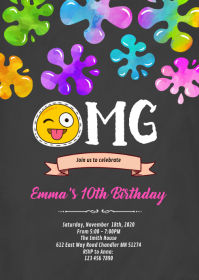 Emoji slime party invitation A6 template