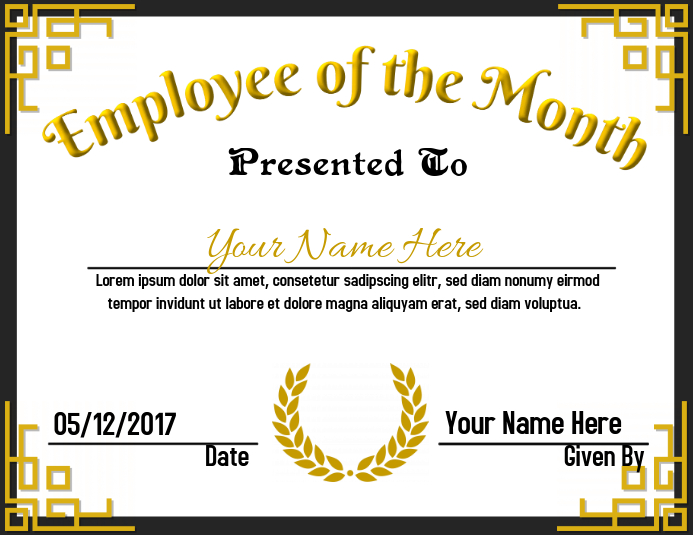 photo about Employee of the Month Printable Certificate referred to as Personnel of the Thirty day period Template PosterMyWall