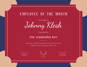 Employee of the month Landscape Certificate