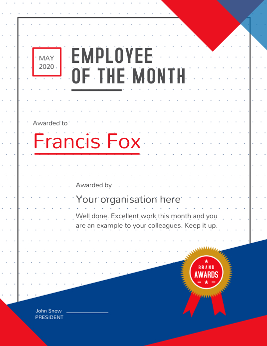 Copy of Employee of the month Portrait Certificate ...