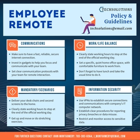 Employee Remote Work from Home Guidelines Instagram Post template