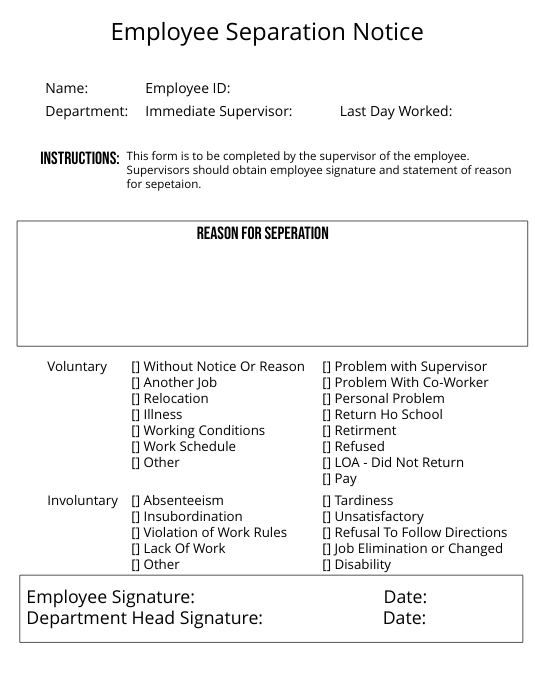 Separation Notice Template | Employee Separation Notice Template Postermywall
