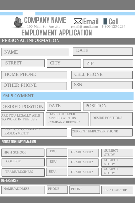 Employment Application Iphosta template