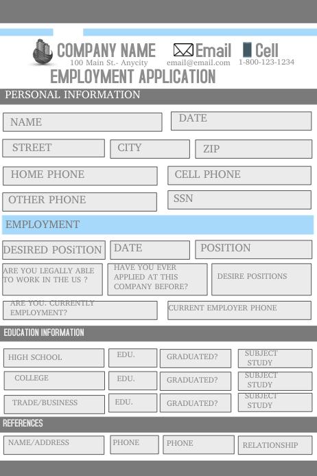 Employment Application Iphosta template