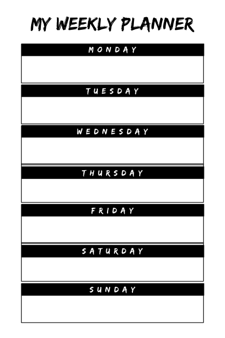 empty weekly event planner template postermywall