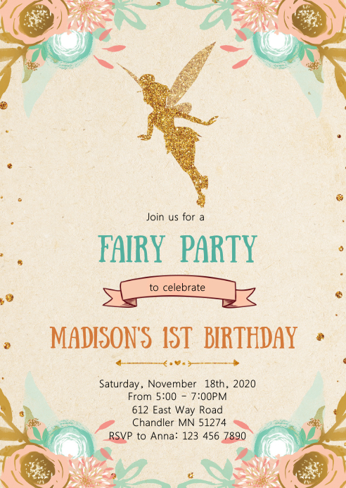 Enchanted theme birthday party invitation