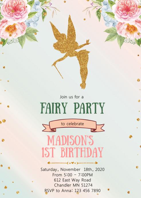 Enchanted theme birthday party invitation