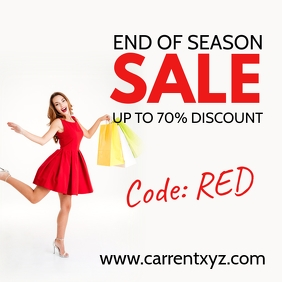End of Season Sale Flyer Poster Advert Shop Square (1:1) template