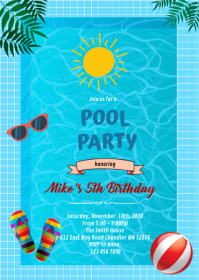 End of summer pool party invitation A6 template