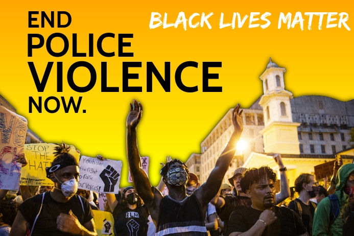 End Police Violence in Black Lives Template Banner 4' × 6'