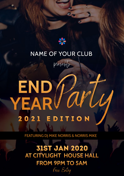 END year party flyer A3 template