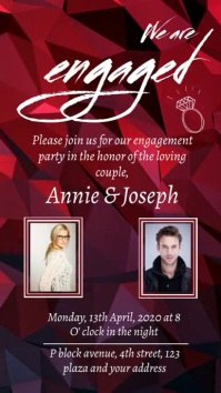 engagement party digital invitation 数字显示屏 (9:16) template