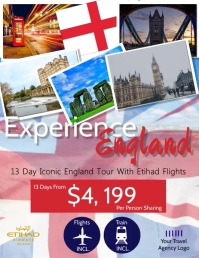 England Travel Flyer Template