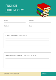 English Book Review Class Worksheet