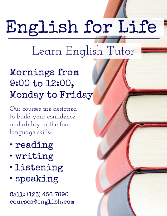 English language tutor flyer template