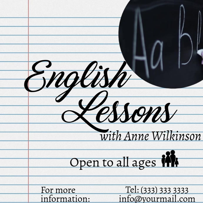 English Lessons Notebook Video Ad Instagram Square (1:1) template
