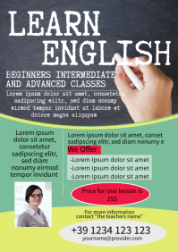 English lessons template flyer A4