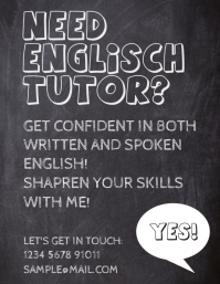 English Tutor Teaching Classes Blackboard Flyer