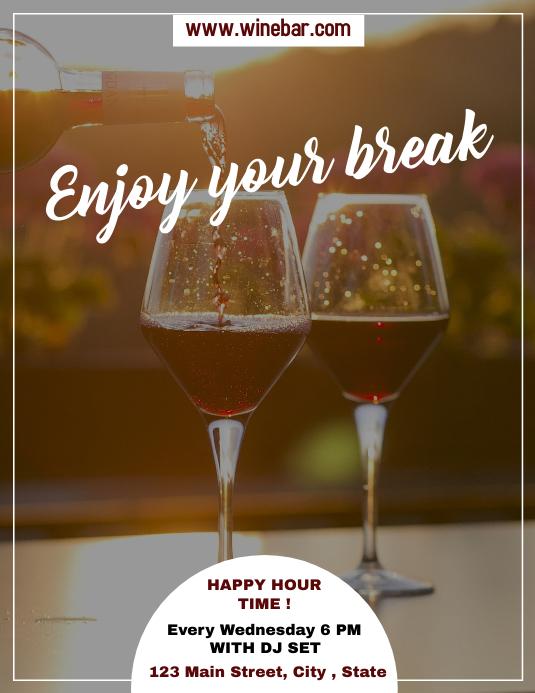 enjoy your break happy hour flyer advertising