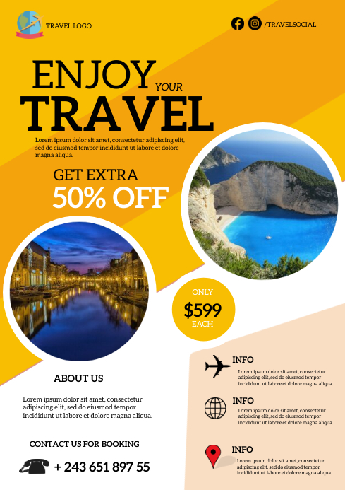 Enjoy Your Travel Flyer Template A4