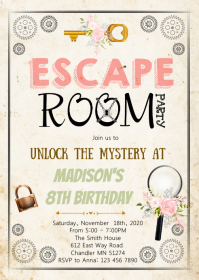Escape room birthday party invitation A6 template