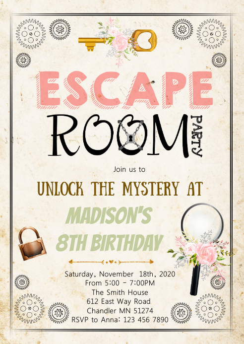 Escape room birthday party invitation