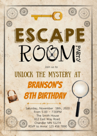 Escape room boy birthday party invitation