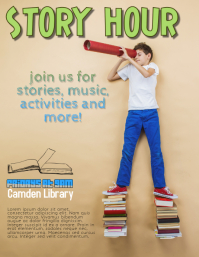 Story Hour School Library flyer template