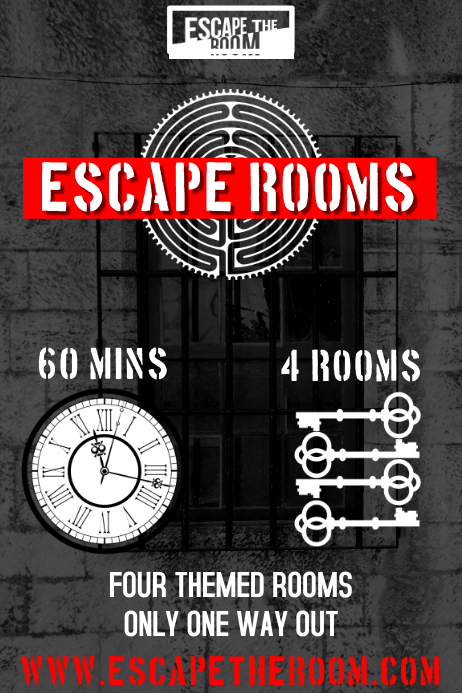 escape room poster template postermywall