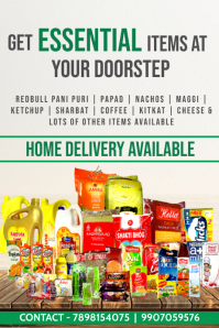 Essential items Home delivery Template Poster