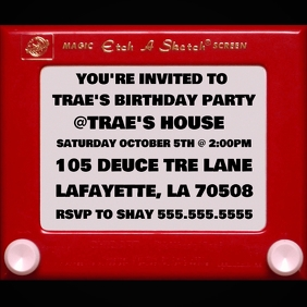 ETCH A SKETCH SCREEN BIRTHDAY INVITATION Pochette d'album template
