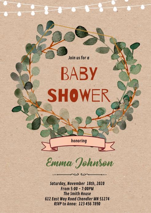 Eucalyptus baby shower invitation A6 template