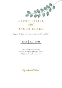 Eucalyptus Wedding Invitation Template A5