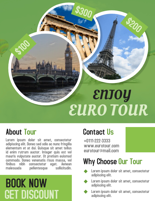 euro tour travel business promotion flyer poster template