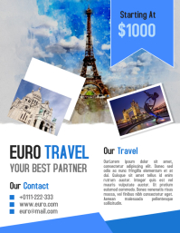 Euro tour and travel business flyer and poster template