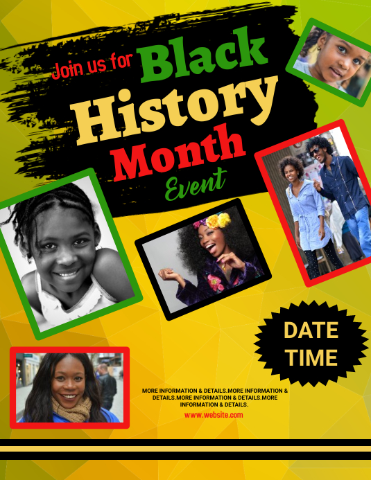 event, black history month Flyer (US Letter) template