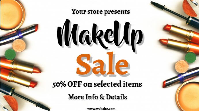 Retail, makeup sale, sale Digitalt display (16:9) template