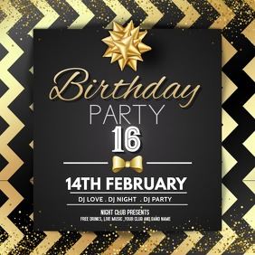 Event,party ,Birthday template Quadrado (1:1)