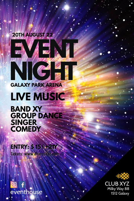 Event Advert Night Stars Galaxy Universe ad Template | PosterMyWall