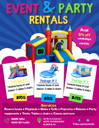 Event and Party Rental Bouncy Castle Flyer Te ใบปลิว (US Letter) template